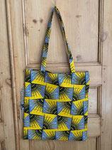 Tote-bag Wax vintage jaune/bleu