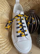 Lacets Wax jaune vagues marine