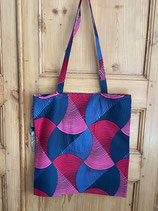 Tote-bag Wax bobines rose/gris