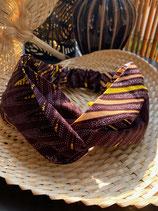Headband Wax fond brun chevrons jaune/saumon/blanc