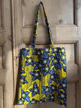 Tote-Bag Wax jaune fleurs bleues