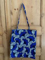 Tote-bag Wax Fleur de mariage bleu vif