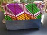 Trousse Wax/jean carrés vert/violet