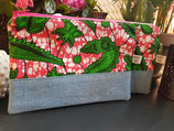 Trousse Wax/jean fond marbré rose/blanc motifs verts