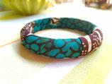 Bracelet 15mm Wax émeraude/brun