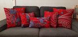 Housse de coussin Wax fleurs rouges