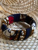 Bracelet 25mm Wax fond marbré ocre plume rouge/marine