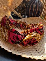 Headband Wax marbré ocre motifs brun/fuchsia