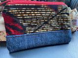 Trousse Wax/jean fond rayé ocre, feuilles rouge/marine