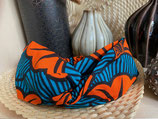 Headband Wax fleurs de mariage oranges fond turquoise