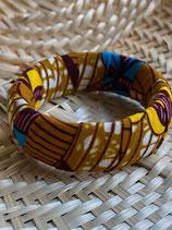 Bracelet 25mm Wax fond ocre fleurs jaune/bleu