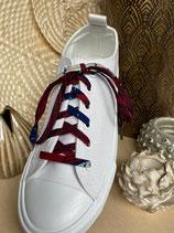 Lacets Wax feuilles rouge/bleu
