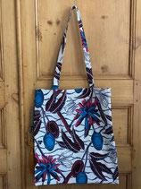 Tote-bag Wax fond blanc fleurs bleu/rose