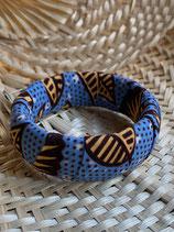 Bracelet 25mm Wax bleu fleurs jaune pâle