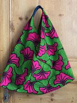 Sac Origami fond vert fleurs de mariage fuchsia