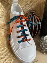 Lacets Wax fleurs de mariage orange fond turquoise