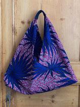 Sac Origami fond fuchsia fleur bleu vif