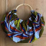 Sac boule Wax fond blanc feuilles kaki/jaune/orange/marine