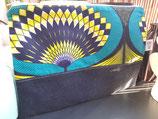 Housse pour tablette Wax/jean éventail bleu/jaune