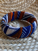 Bracelet 25mm Wax fond blanc feuilles bleu/orange