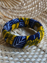 Bracelet 25mm fond jaune fleurs bleues