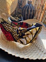 Headband Wax marbré brun motifs noir/rouge/blanc