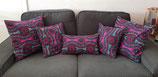 Housse de coussin violet/turquoise