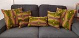 Housse coussin Wax vert/jaune/brun