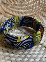 Bracelet 25mm Wax sienne cercles jaune/bleu vif