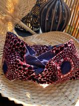 Headband Wax fond bleu cercles brun rouge