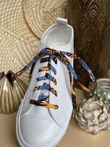 Lacets Wax bleu pâle fleurs jaune/brun