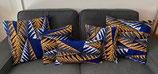 Housse de coussin fougères bleu/blanc/orange