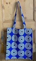 Tote-bag Wax bleu vif cercles blanc