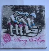 Vintage - 4 Mädchen auf dem Schlitten / #000116