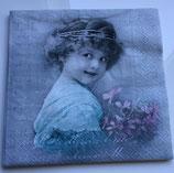 Vintage - Mädchen mit Strauss türkis - Rückblick / #000097
