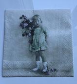 Vintage - Mädchen mit grünem Kleid & Blumen / #000084