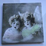 Vintage - 2 singende Engel bunt / #000111