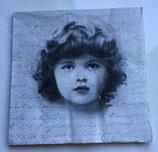 Vintage - Mädchengesicht mit Schrift / #000098