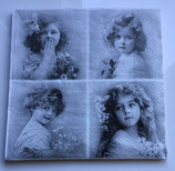 Vintage - 4 Motive - Mädchen mit Blumen / #000099