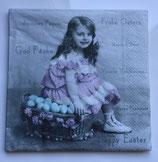 Vintage - Ostermädchen sitzend auf Korb / #000118