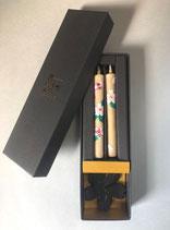 小ロー2本桜の絵ろうそく・桜の燭台付きセット