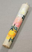 手描き絵ろうそく 菊B50匁棒 白(特注)