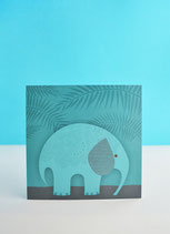 Postal Elefante Azul