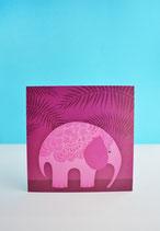 Postal Elefante Rosa