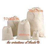 sac à linge en toile coton bleu, beige, gris, rouge ou rose