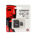 Kingston - Memoria MicroSD 64GB Clase 10 + Adaptador SD - Negro