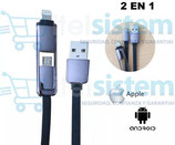 CABLE USB DE DATOS 2 EN 1 LIGHTNING PARA IPHONE / ANDROID