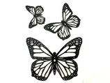 3 sizes 3D Butterfly shapes SET