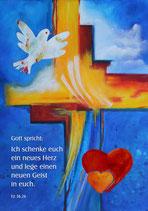 Plakate, Poster »Ich schenke euch ein neues Herz und lege einen neuen Geist in euch« - Jahreslosung 2017
