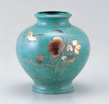 101-52 壷 山茶花に鳥(山本秀峰)